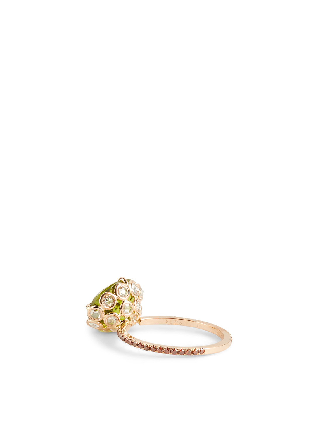 LITO 18K Rose Gold Ring With Peridot And Diamonds Women's Metallic
