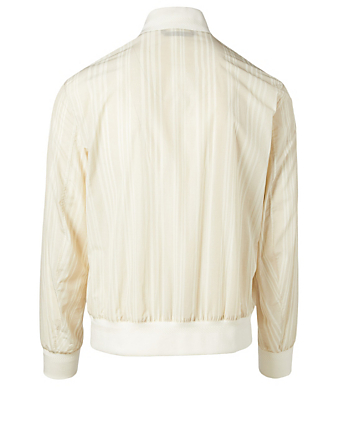 ERMENEGILDO ZEGNA Striped Bomber Jacket Men's Neutral