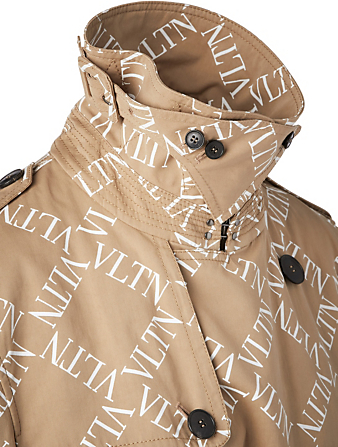 VALENTINO Trench Coat In VLTN Grid Print Designers Neutral