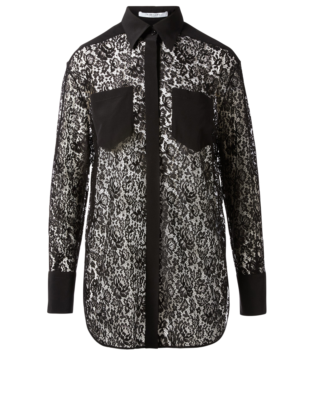 GIVENCHY Lace Button-Up Blouse Women's Black