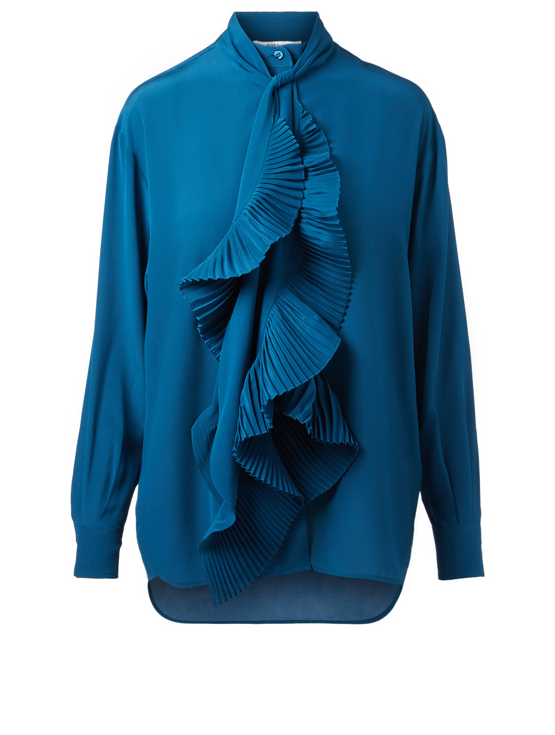 GIVENCHY Silk Blouse With Ruffled Scarf Womens Blue