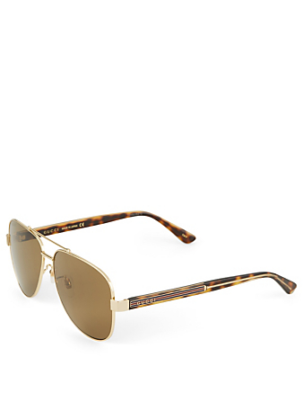 GUCCI Aviator Sunglasses With Web Men's Gold