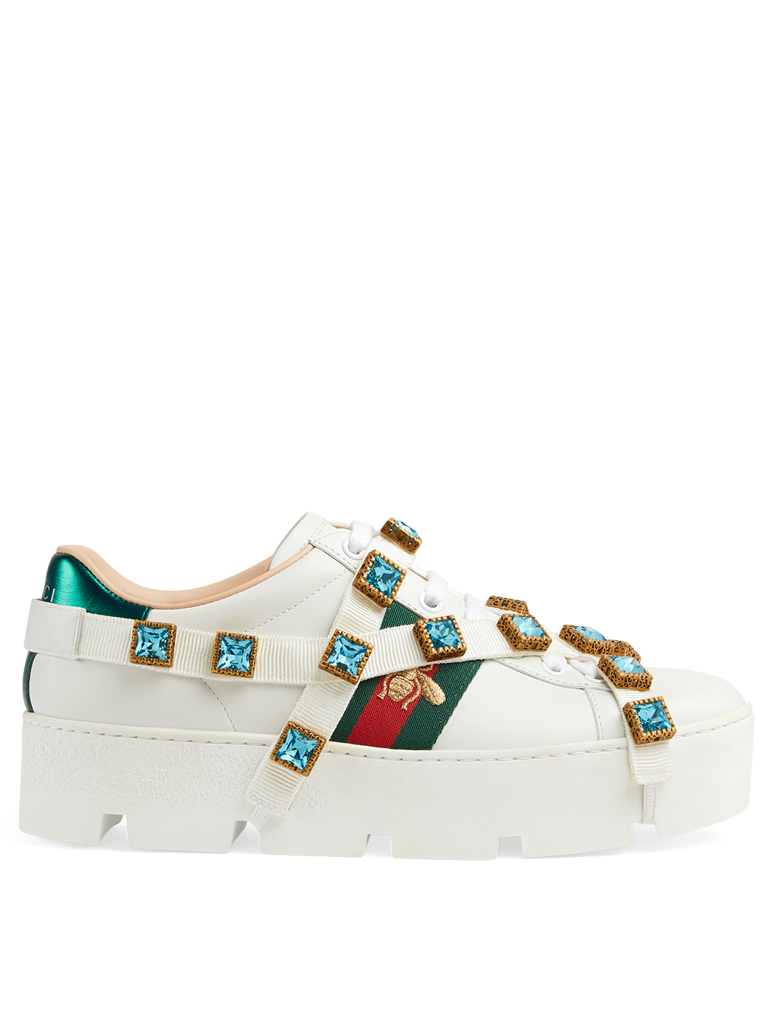 69e75449758 GUCCI Ace Leather Platform Sneaker with Removable Crystal Strap ...