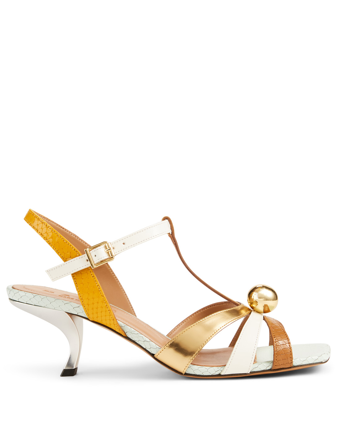 27b0a6782 MARNI Metallic And Snake-Embossed Leather Heeled Sandals Women s Gold ...