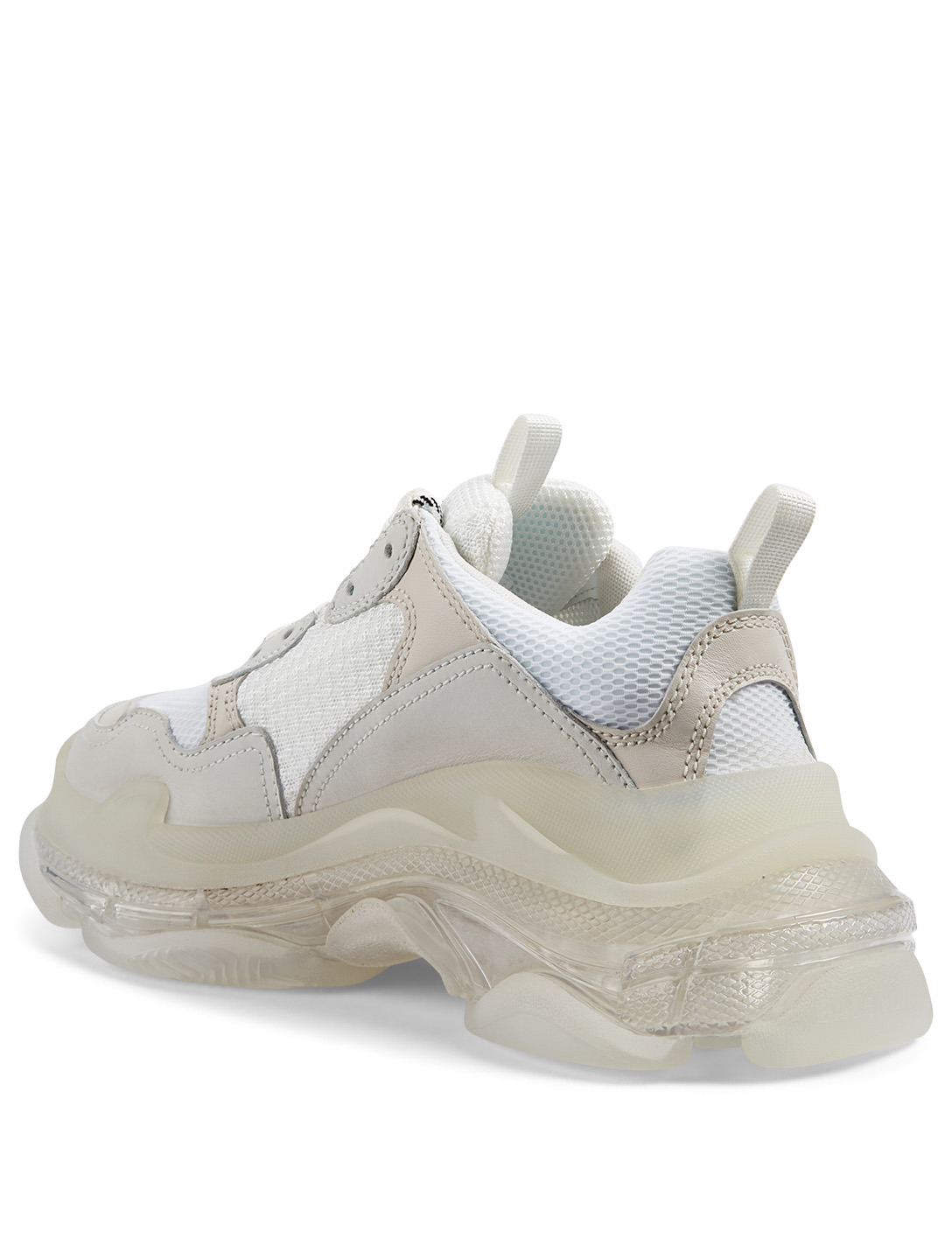 BALENCIAGA Triple S Bubble Mesh And Leather Sneakers Women's White