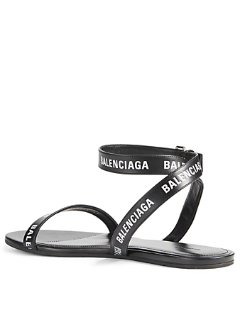 BALENCIAGA Leather Logo Sandals Designers Black
