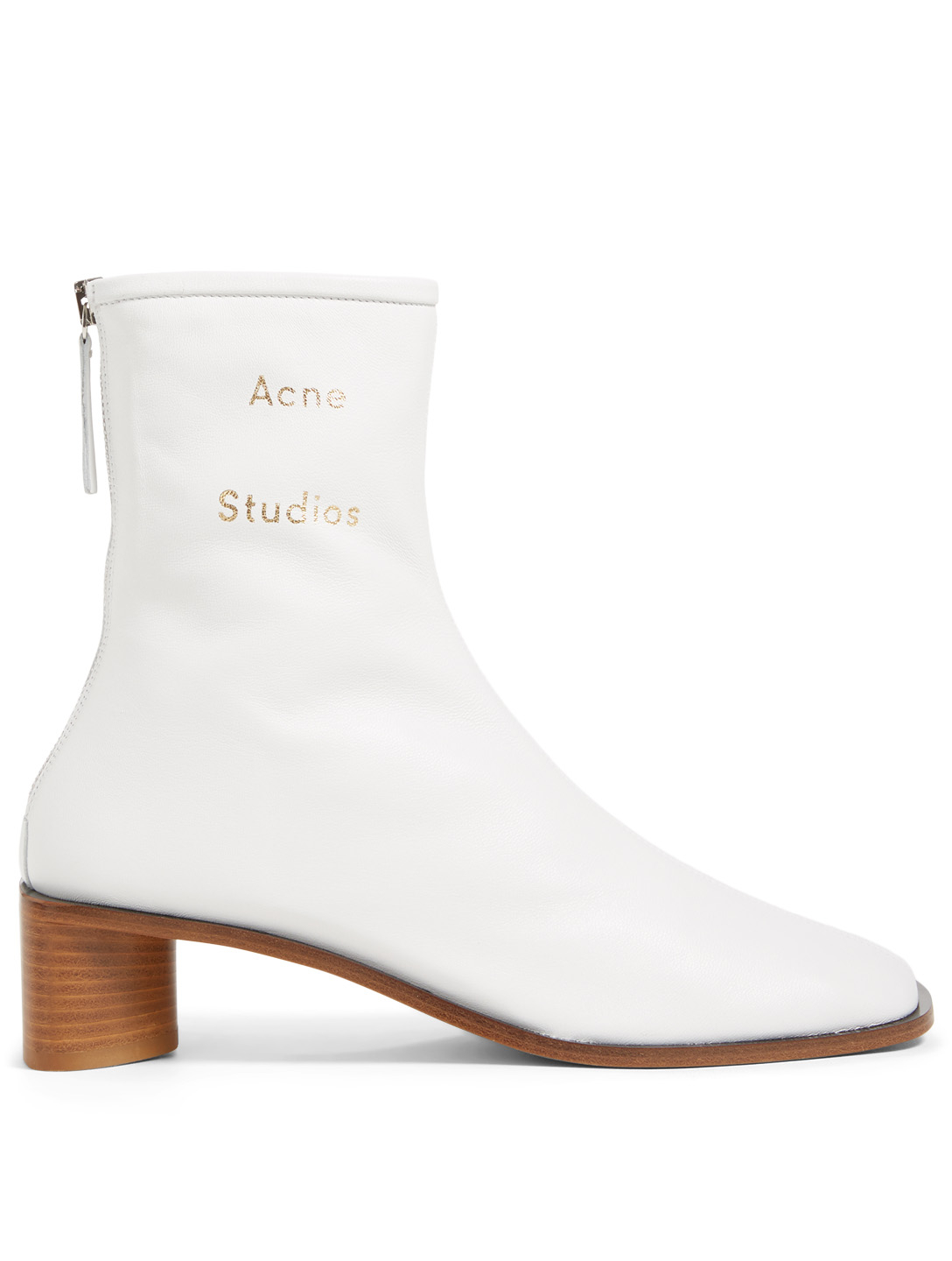 fc0b19dba2f88 ACNE STUDIOS Bertine Branded Leather Ankle Boots Women s White ...