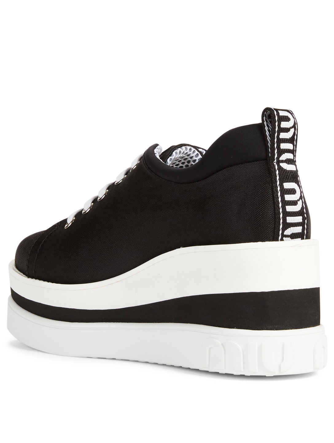 MIU MIU Nylon Platform Sneakers Womens Black