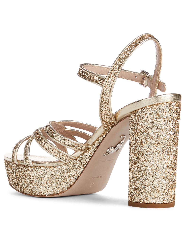 9e0ebf30f96b MIU MIU Glitter Platform Sandals Women s Gold  MIU MIU Glitter Platform  Sandals Women s ...
