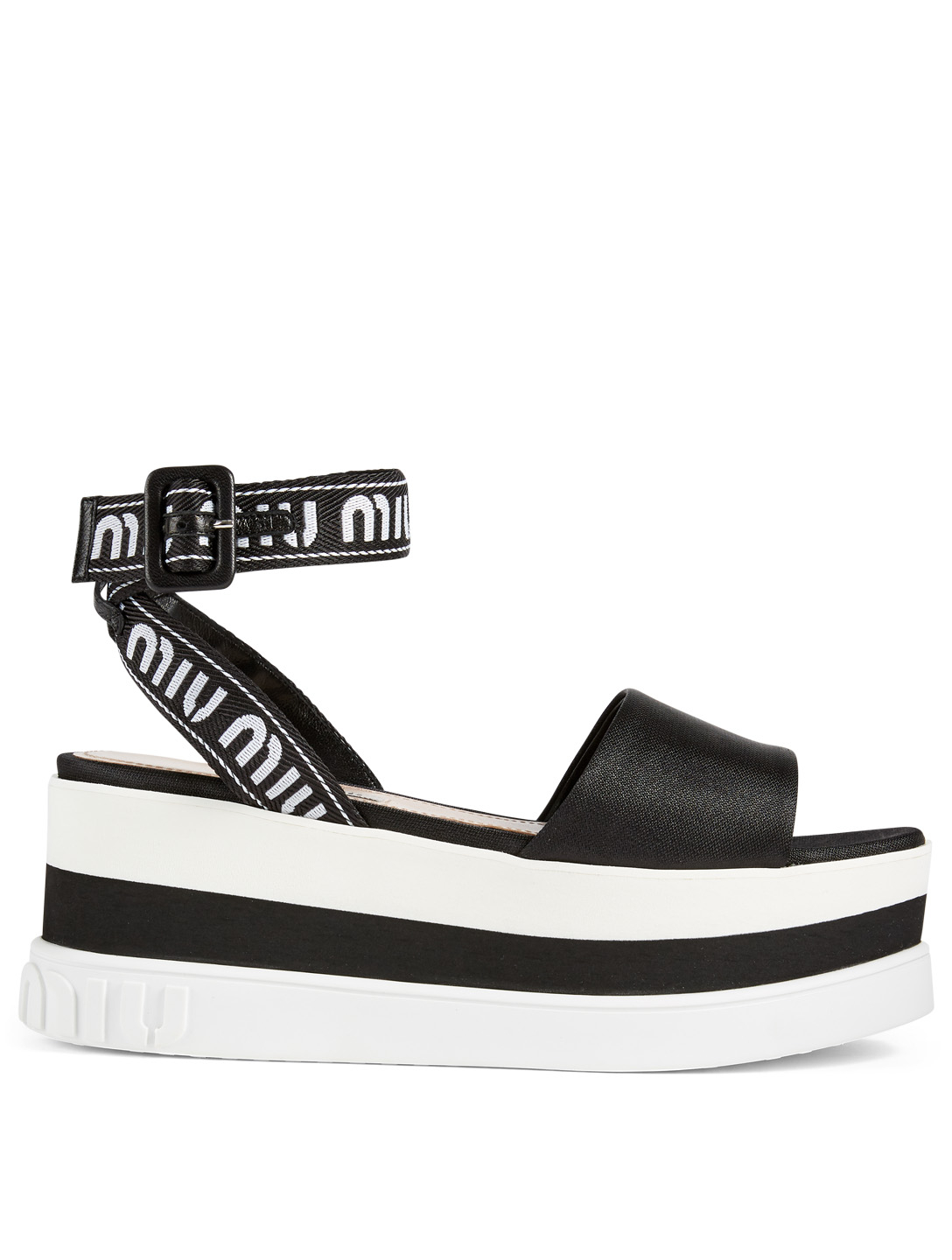 MIU MIU Logo Platform Sandals Womens Black