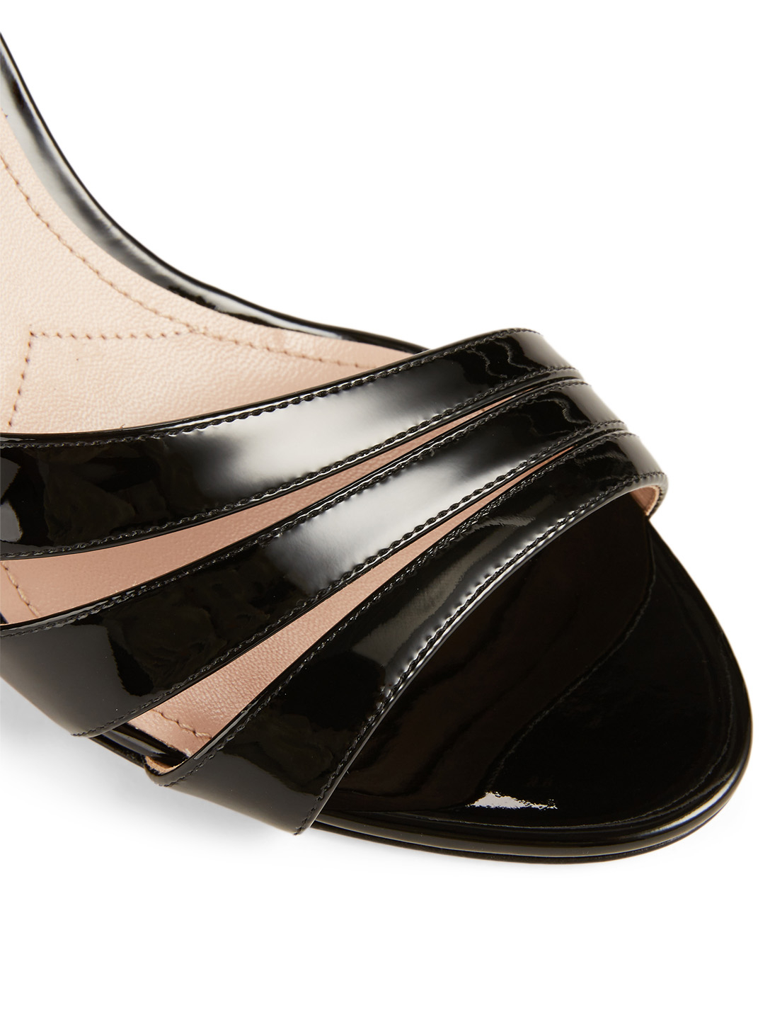 MIU MIU Patent Leather Rainbow Heeled Sandals Womens Black
