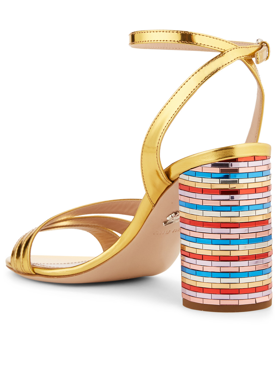MIU MIU Patent Leather Rainbow Heeled Sandals Womens Gold