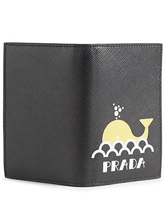 PRADA Printed Saffiano Leather Bifold Card Holder Designers Black