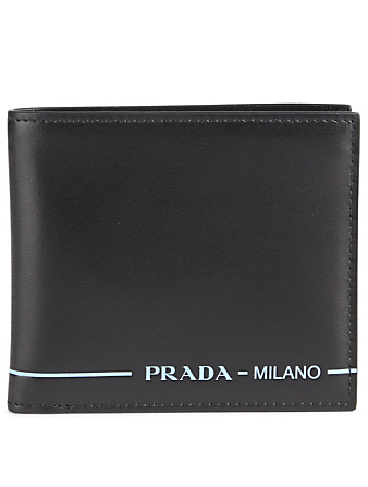 PRADA Leather Bifold Wallet Designers Black