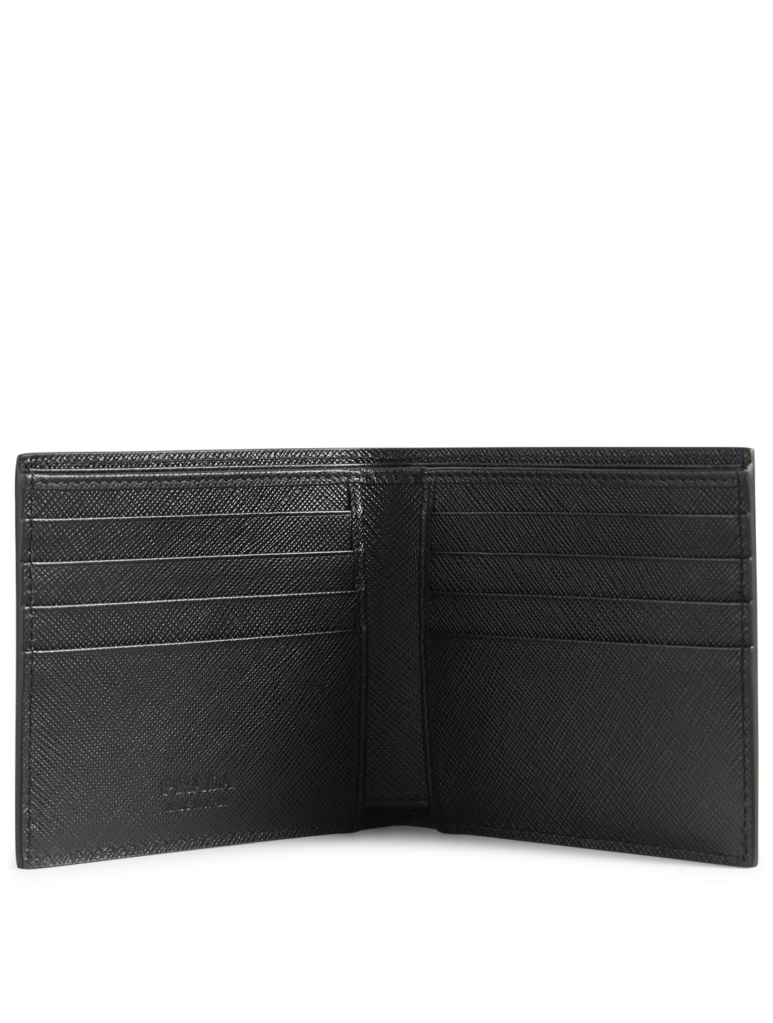 PRADA Printed Saffiano Leather Bifold Wallet Designers Black