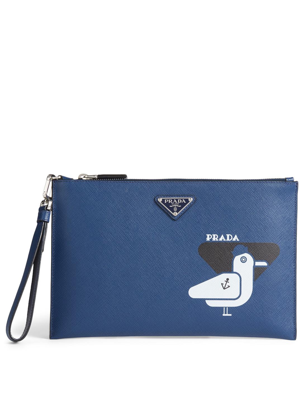 49d7168386d7 PRADA Printed Saffiano Leather Pouch | Holt Renfrew