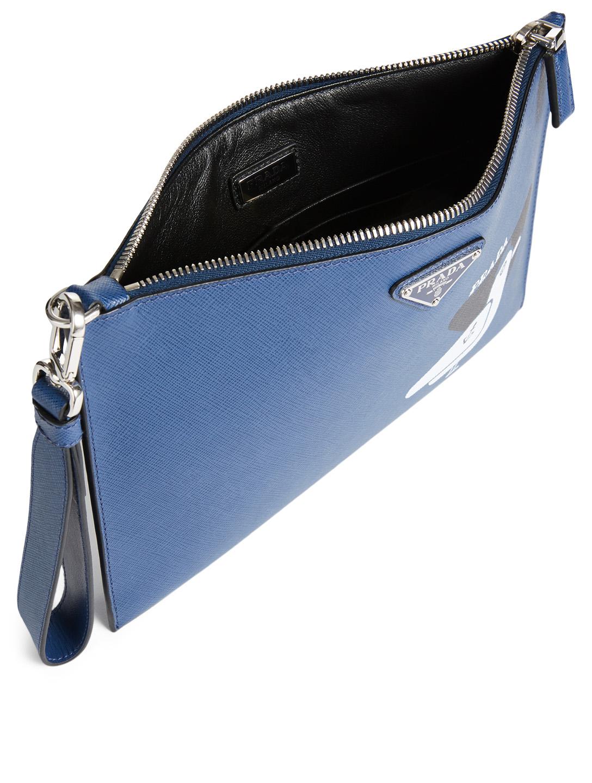 557ff8ba518cfd ... PRADA Printed Saffiano Leather Pouch Men's Blue