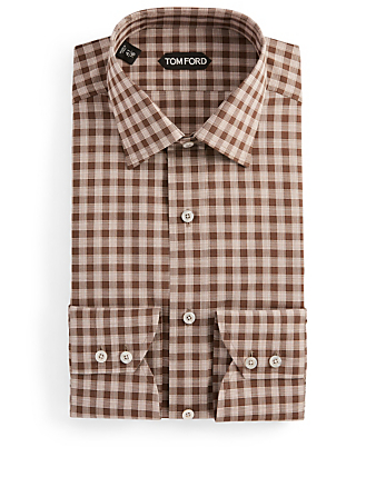 TOM FORD Dress Shirt In Gingham Men's Brown