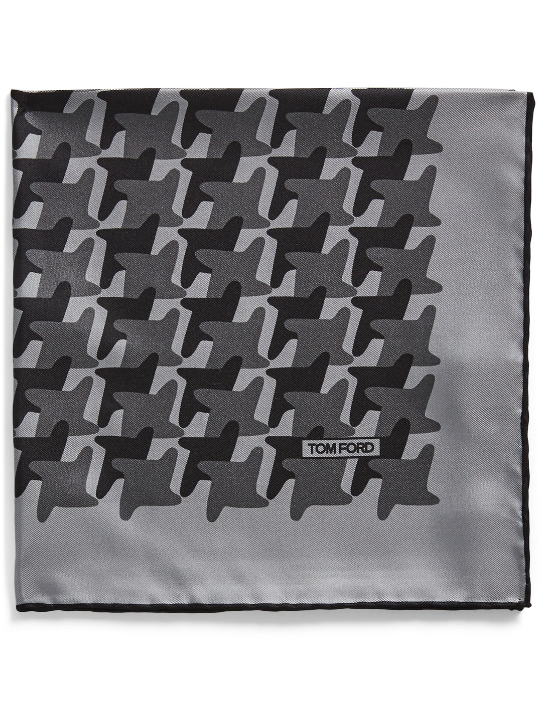 TOM FORD Silk Pocket Square In Houndstooth Men's Grey