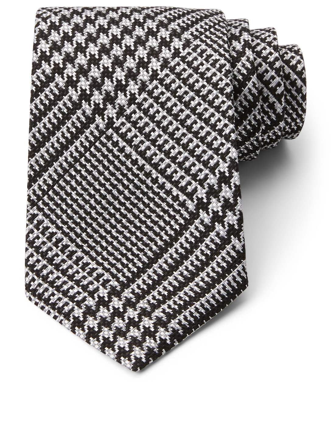 TOM FORD Silk Tie Prince Of Wales Check Men's Grey