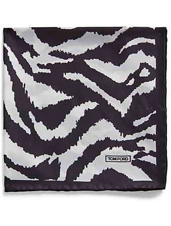 TOM FORD Silk Pocket Square In Zebra Print Men's Multi