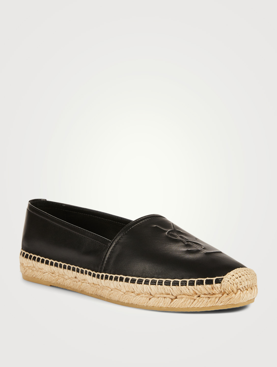SAINT LAURENT YSL Monogram Leather Espadrilles Women's Black