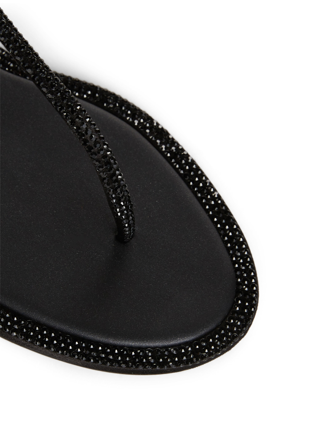 RENE CAOVILLA Diana Satin Strass Thong Sandals Womens Black