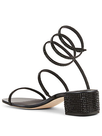 RENE CAOVILLA Cleo Satin Strass Heeled Sandals Women's Black