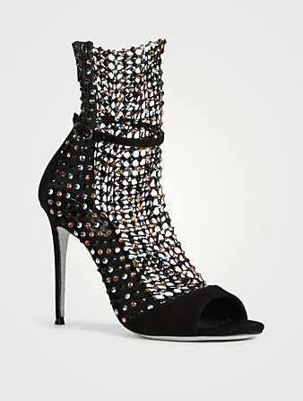 RENE CAOVILLA Galaxia 105 Suede And Strass Net Heeled Sandals Women's Black