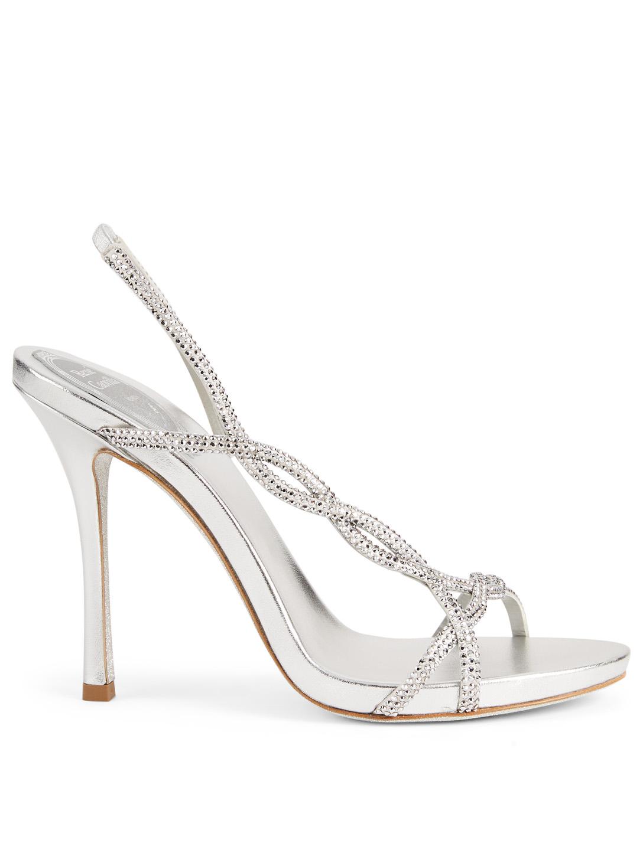 35d03bf58 RENE CAOVILLA Treccia 105 Satin Strass Heeled Sandals Women s Silver ...