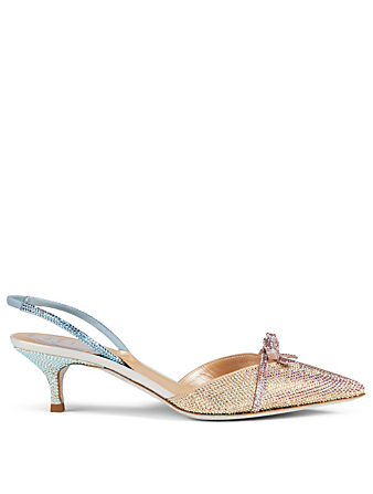 RENE CAOVILLA Terina 50 Satin Strass Slingback Pumps Women's Multi