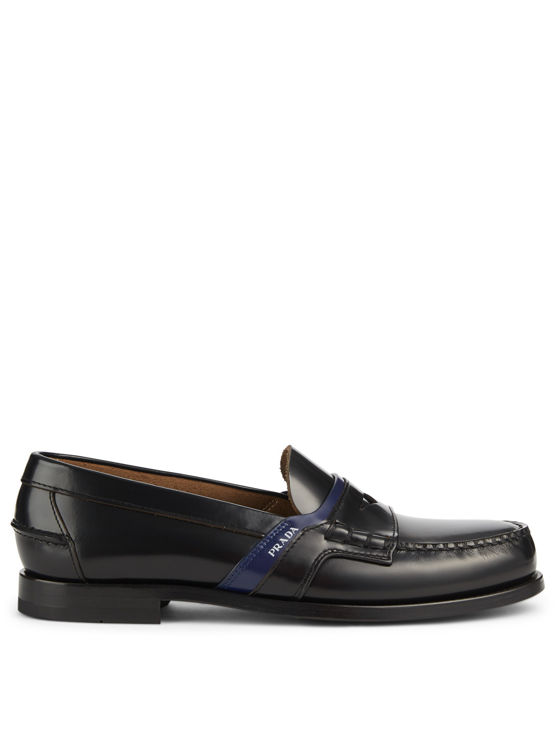 PRADA Leather Penny Loafers Designers Black