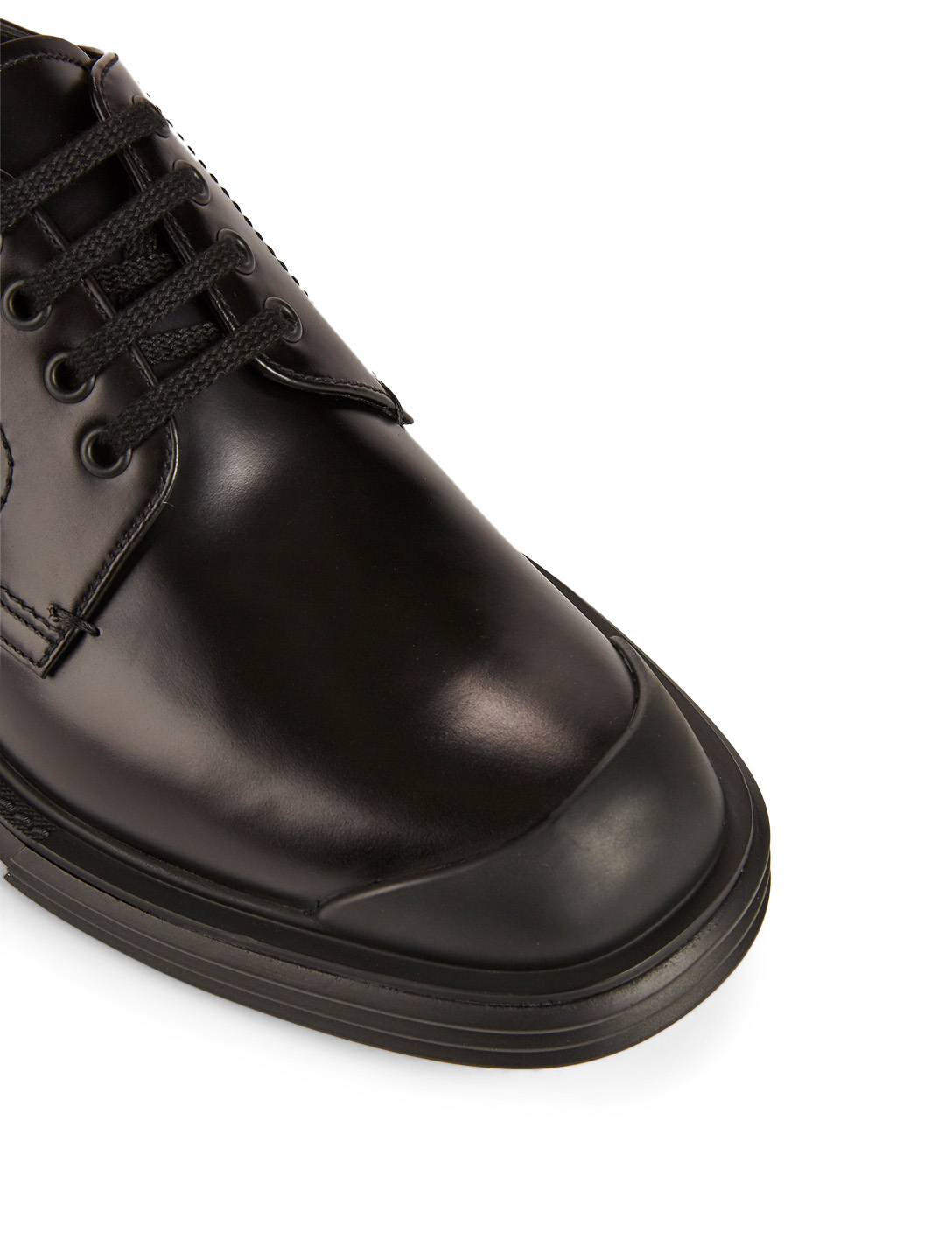 PRADA Leather Derby Shoes Designers Black