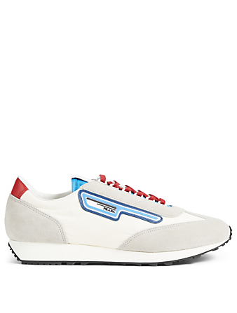 PRADA Nylon And Suede Sneakers Designers White