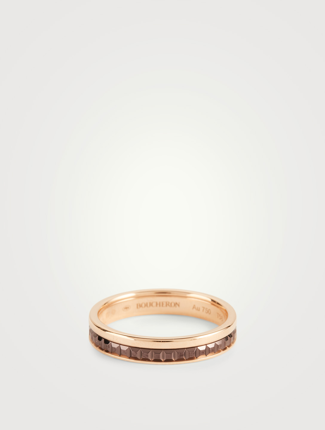 BOUCHERON Quatre Classique Rose Gold Wedding Band With Brown PVD Women's Metallic