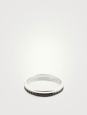 BOUCHERON Black Edition Quatre White Gold Wedding Band With Black PVD Womens Silver