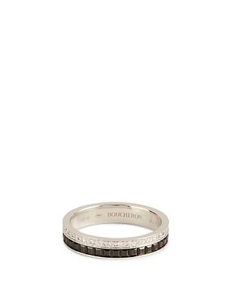 BOUCHERON Black Edition Quatre White Gold Wedding Band With Black PVD And Diamonds Womens Silver