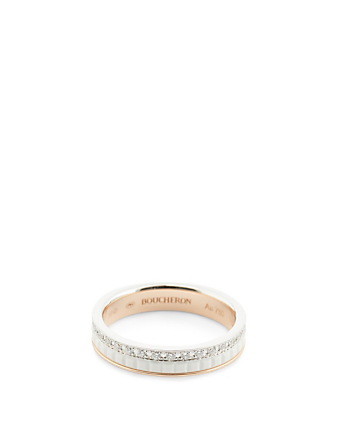 BOUCHERON White Edition Quatre Rose And White Gold Wedding Band With Ceramic And Diamonds Womens Metallic