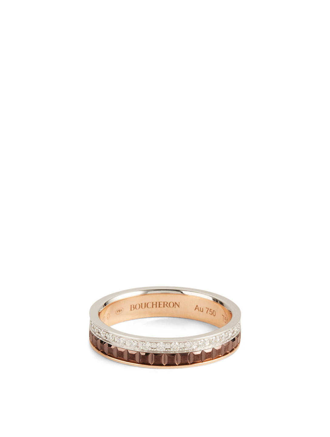 BOUCHERON Quatre Classique Gold Wedding Band With Brown PVD And Diamonds Womens Metallic