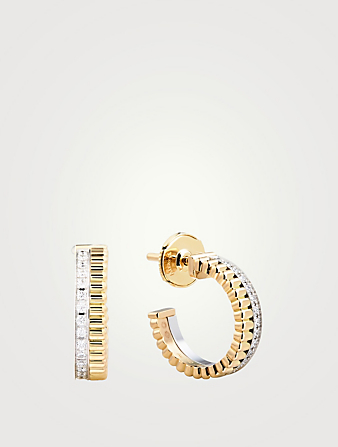 BOUCHERON Radiant Edition Quatre Yellow And White Gold Hoop Earrings With Diamonds Womens Gold