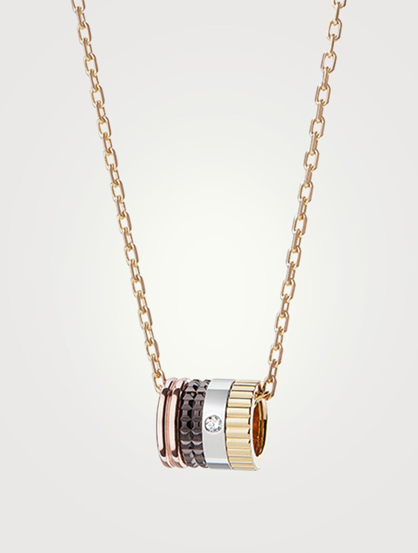 BOUCHERON Quatre Classique Gold Mini Pendant Necklace With PVD And Diamond  Womens Gold ... ba49dc718
