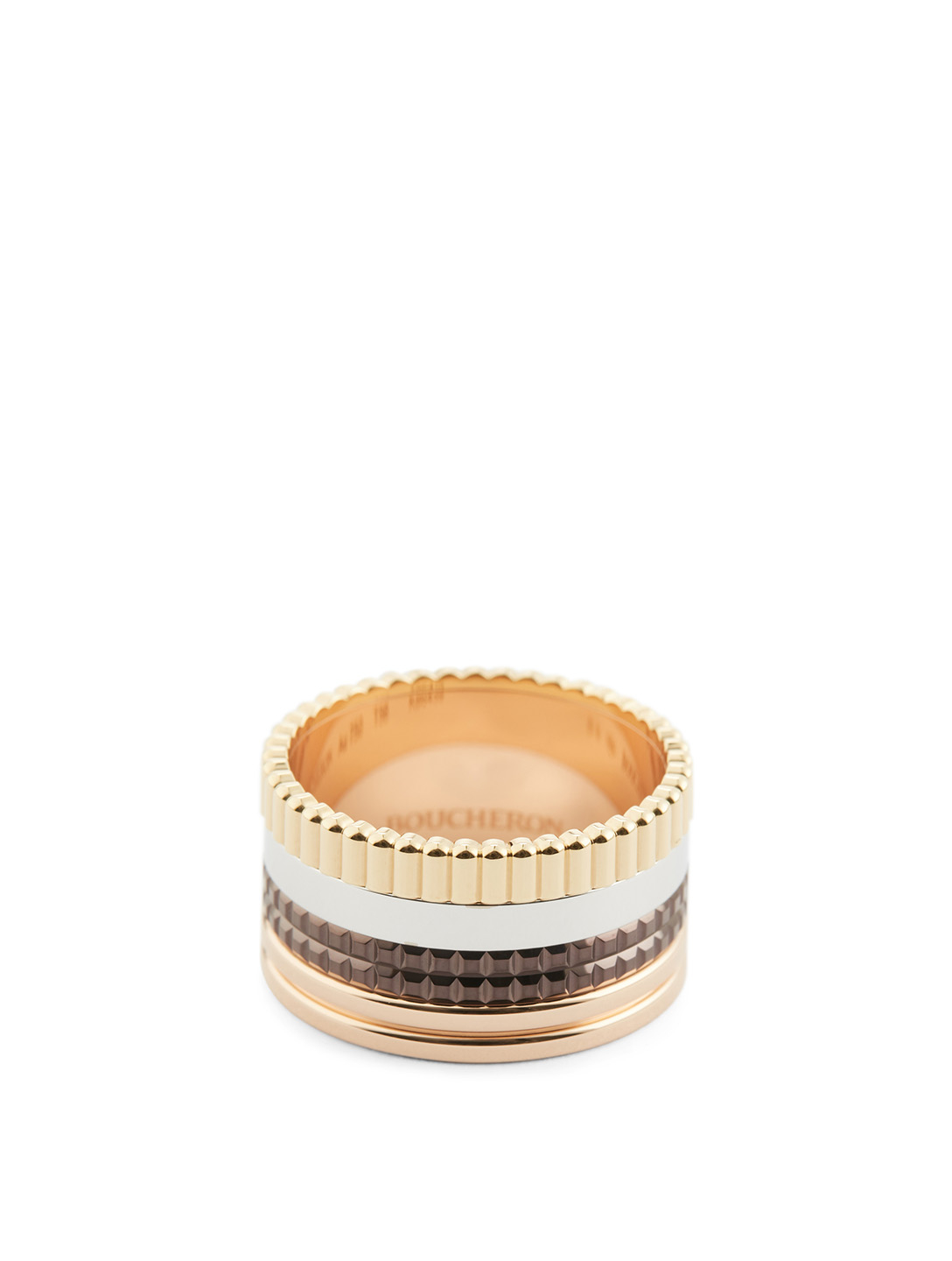 BOUCHERON Large Quatre Classique Gold Ring With Brown PVD Womens Metallic