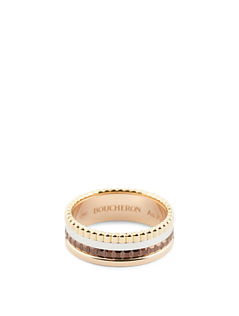 BOUCHERON Small Quatre Classique Gold Ring With Brown PVD Womens Metallic