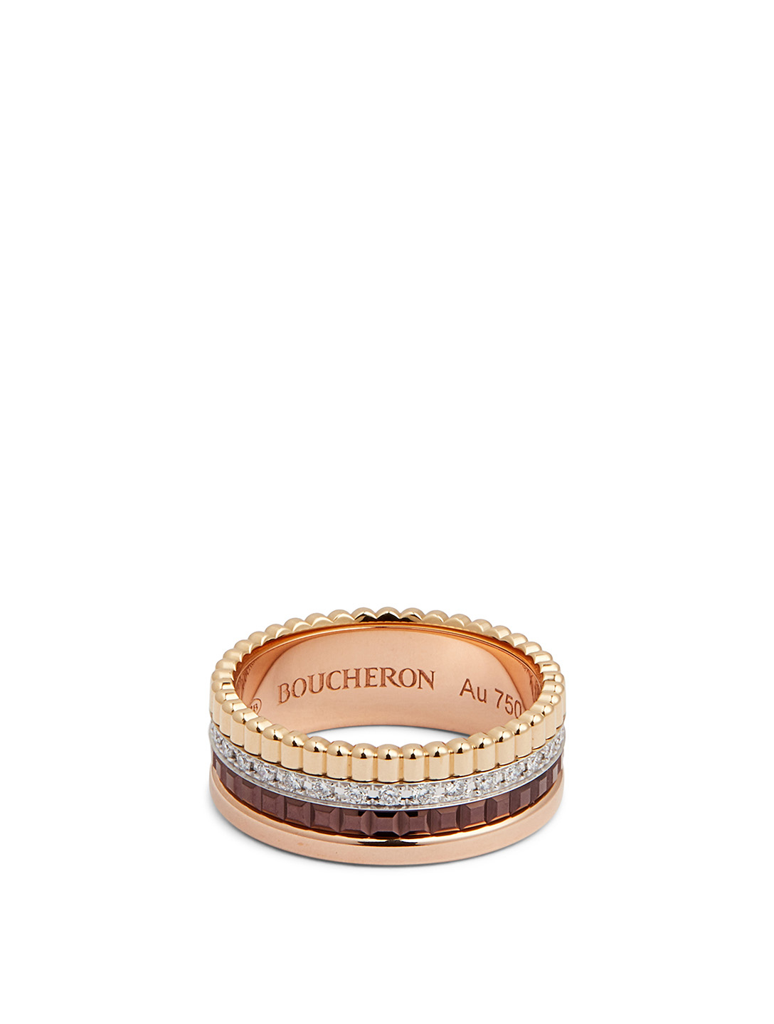 BOUCHERON Small Quatre Classique Gold Ring With Brown PVD And Diamonds Womens Metallic