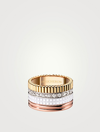 BOUCHERON Large White Edition Quatre Gold Ring With White Ceramic And Diamonds Womens Metallic