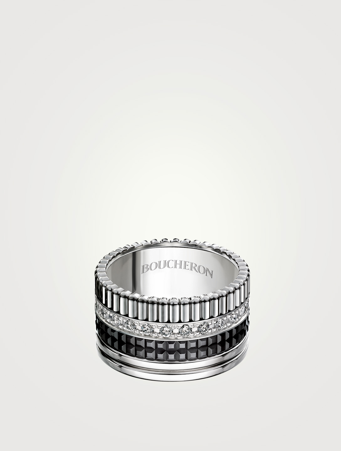 BOUCHERON Large Black Edition Quatre White Gold Ring With Black PVD And Diamonds Womens Silver