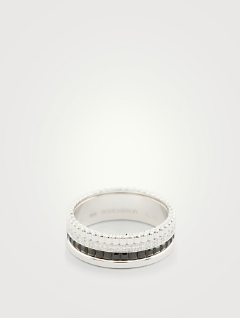 BOUCHERON Small Black Edition Quatre White Gold Ring With Black PVD And Diamonds Womens Silver