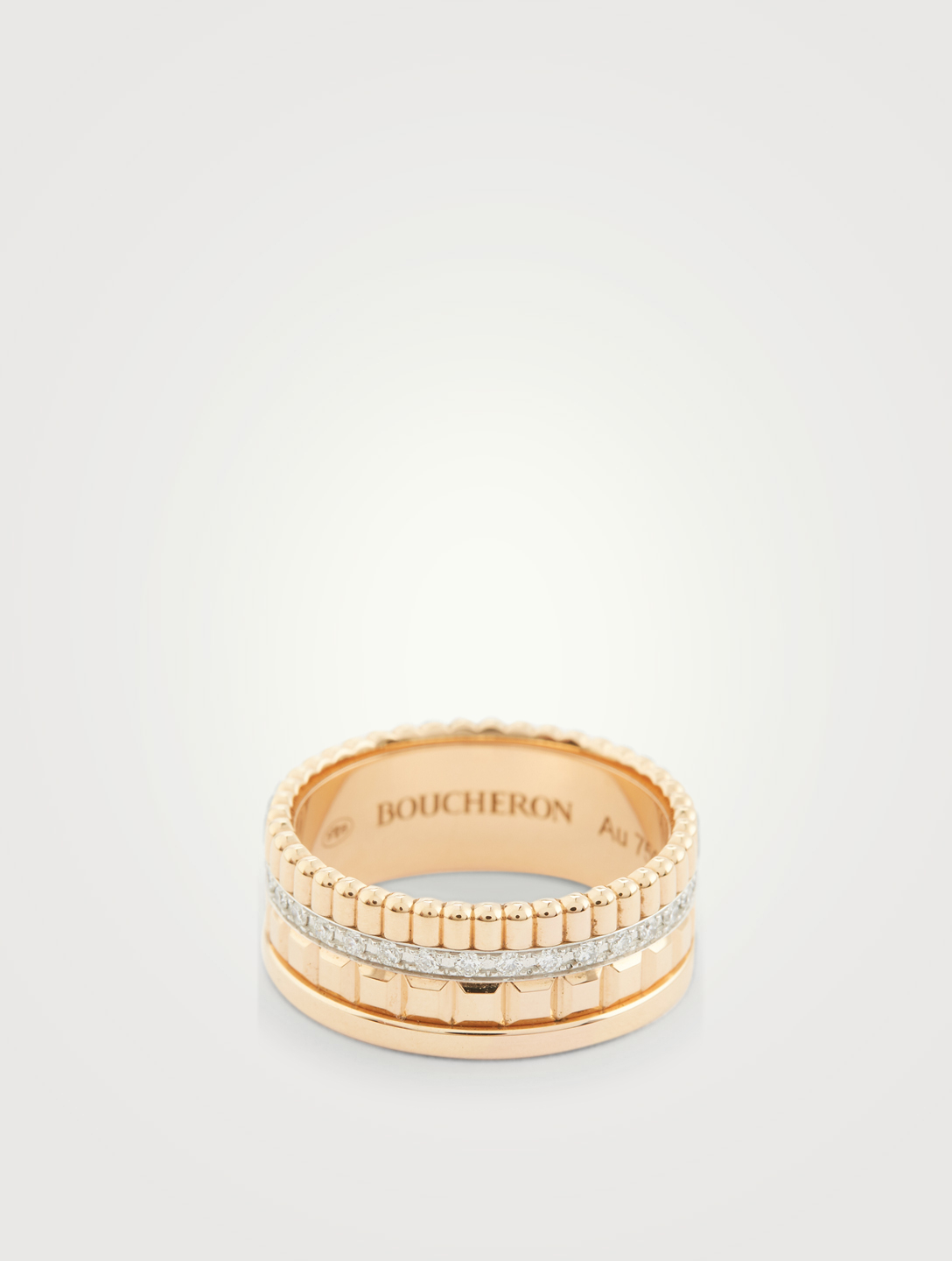 BOUCHERON Small Radiant Edition Quatre Rose Gold Ring With Diamonds Womens Metallic