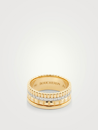 BOUCHERON Small Radiant Edition Quatre Gold Ring With Diamonds Womens Gold