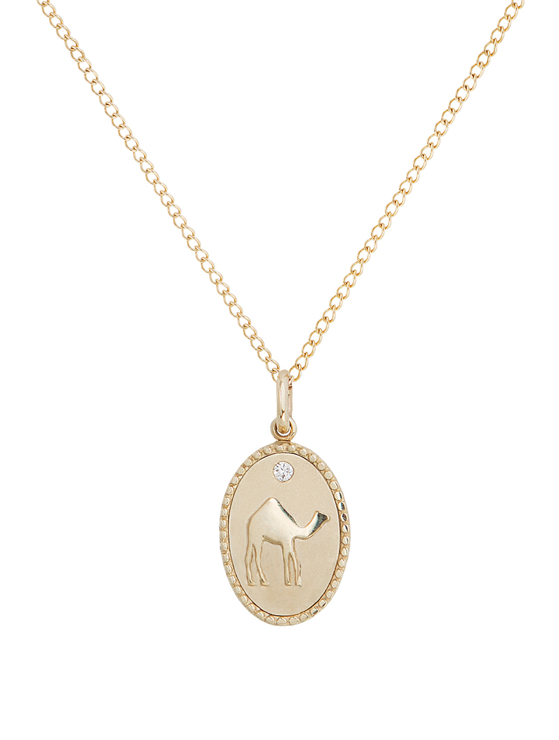 ZAHAVA Camel 10K Gold Diamond Pendant Necklace H Project